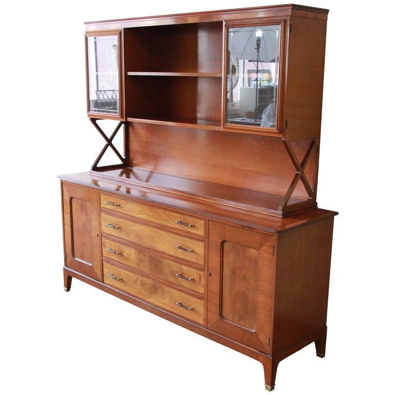 Renzo Rutili for Johnson Mid-Century Modern Sideboard Credenza with Hutch Top