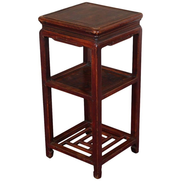 Fine Antique Chinese Qianlong Tiered Wood Stand For Sale - Fine Antique Chinese Qianlong Tiered Wood Stand For Sale At 1stdibs