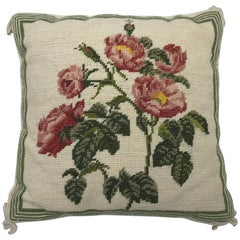1960s Needlepoint Pillow with Pink Rose Motif