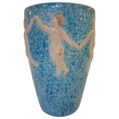 French Art Deco Turquoise Blue Pottery Vase with Children, R. Maynard