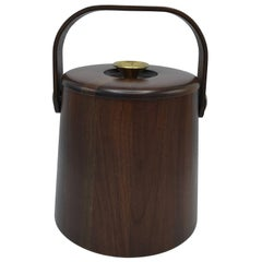 1960s Large Walnut and Brass Ice Bucket with Handle