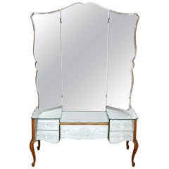French Bevelled and Etched Mirrored Vanity with Trifold Mirror