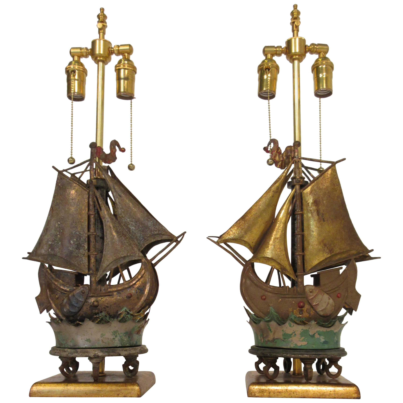 Pair of 1920s Custom-Made Ship Lamps