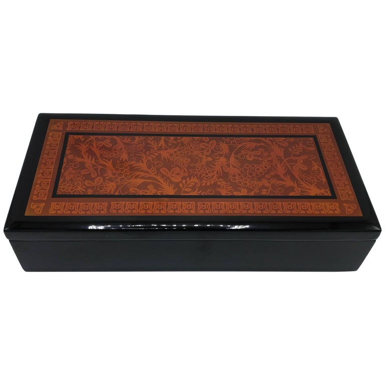 1970s Chinoiserie Red and Black Ornate Motif Box