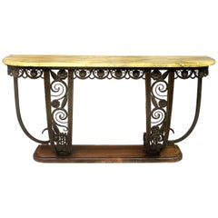 Exceptional Early 20th Century Cast Iron Marble-Top Art Deco Console