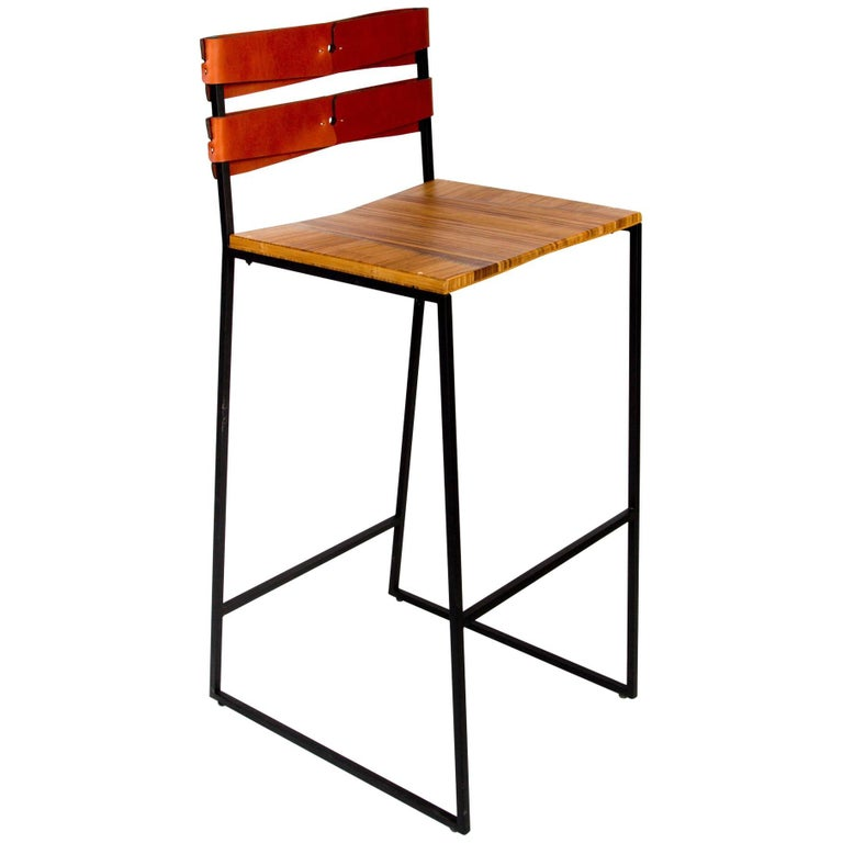 Chair 5 Bar Stool Made of Handcrafted Steel, Wood and Leather