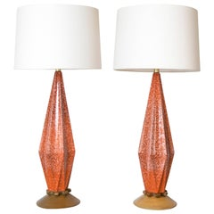 Tall Ceramic Textured Glaze Orange Lamps with Wood Bases