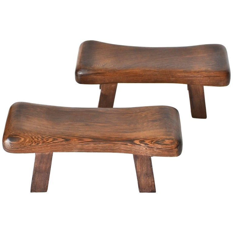 Pair of Wenge Wood Mini Stools, Headrests, Stands For Sale