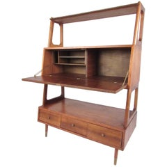 Vintage Walnut Drop Front Bookshelf