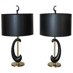 Pair of Black Enamel and Brass Amoeba Shape Lamps by Rembrandt
