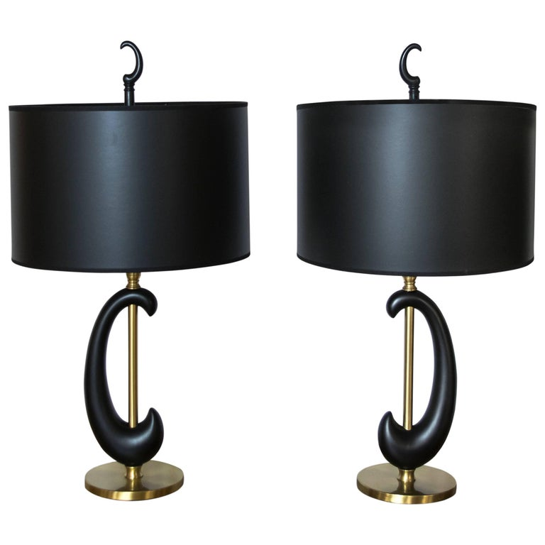 Pair of Black Enamel and Brass Amoeba Shape Lamps by Rembrandt For Sale