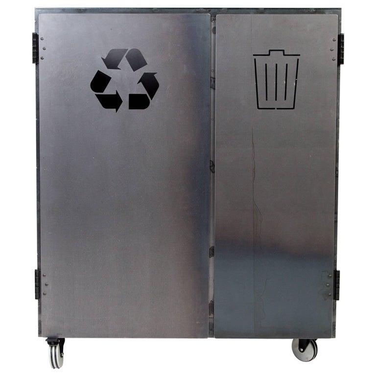 Minimal Modern Custom Steel Garbage & Recycle Bin (custom logos upon request) For Sale