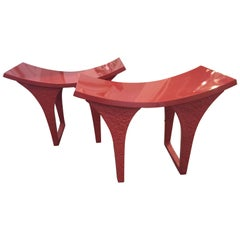 Modern Red Lacquer Benches