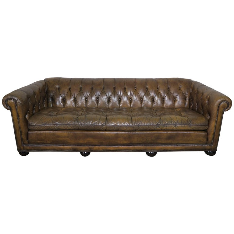 English Tufted Leather Chesterfield Style Sofa 1930s For