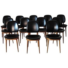 Set of 12 French 1960s Side Chairs by Pierre Guariche