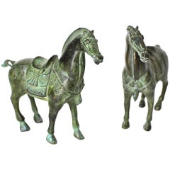 Pair of Bronze Horse Sculptures