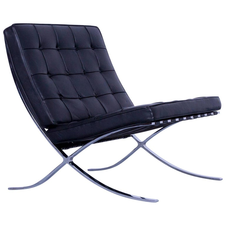 knoll international barcelona chair black leather ludwig. Black Bedroom Furniture Sets. Home Design Ideas