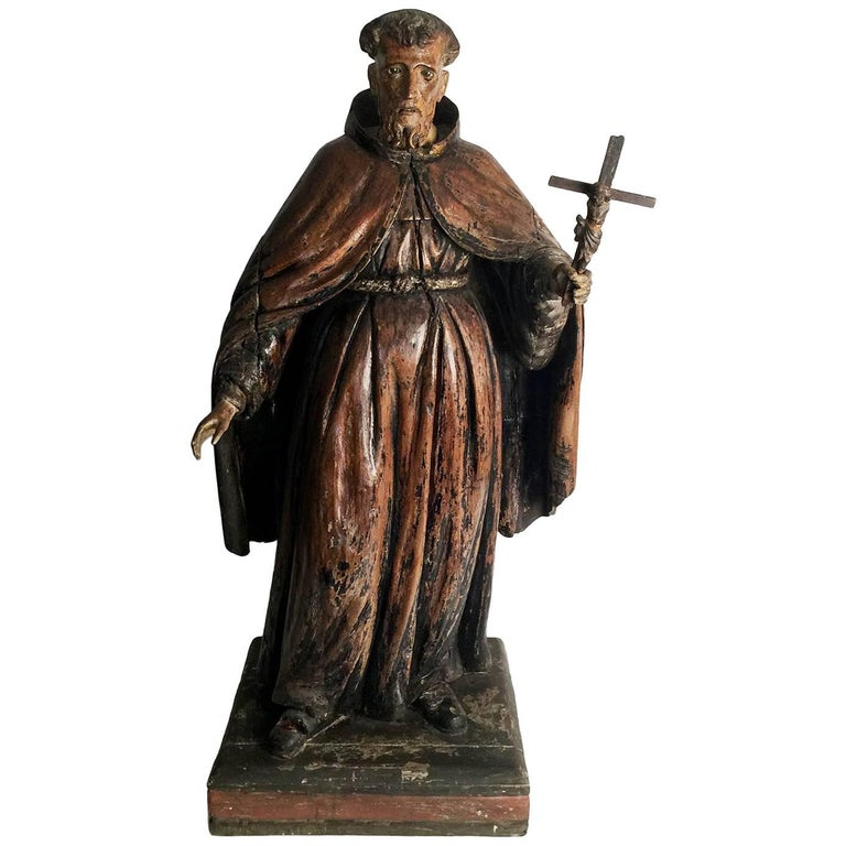 18th Century Hand-Carved and Painted Sculpture of Saint Anthony