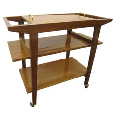 French Mid-Century Modern Walnut Bar Cart/ Trolley/ Server/ Biblio, Andre Sornay
