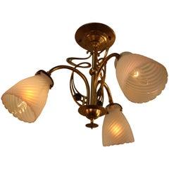English Opalescent Glass and Brass Art Nouveau Chandelier