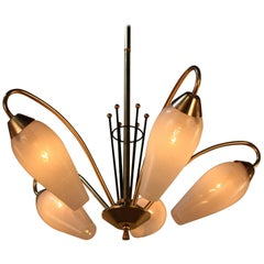 Midcentury French Five-Light Bronze and Glass Chandelier