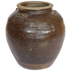 19th Century South East Asia Brown Glazed Pottery Storage Jar, circa 1800s