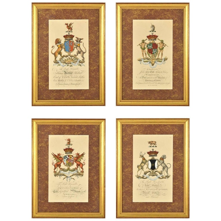 Set of Four Hand Colored Armorial Engravings, circa 1764