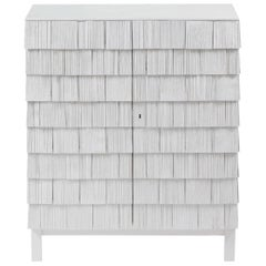 Scandinavian Style Cabinet, Shingles in Pine Wood and limestone Top, Light Grey
