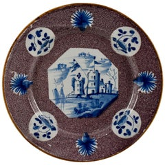 18th Century English Bristol Delftware Blue and Deep Manganese Plate