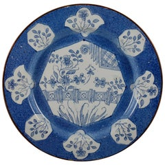 18th Century English Bristol Delftware Blue and White Deep Charger
