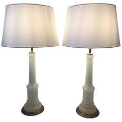 Pair of Large Swedish Josef Frank Opaline Table Lamps Svenskt Tenn Model 2583