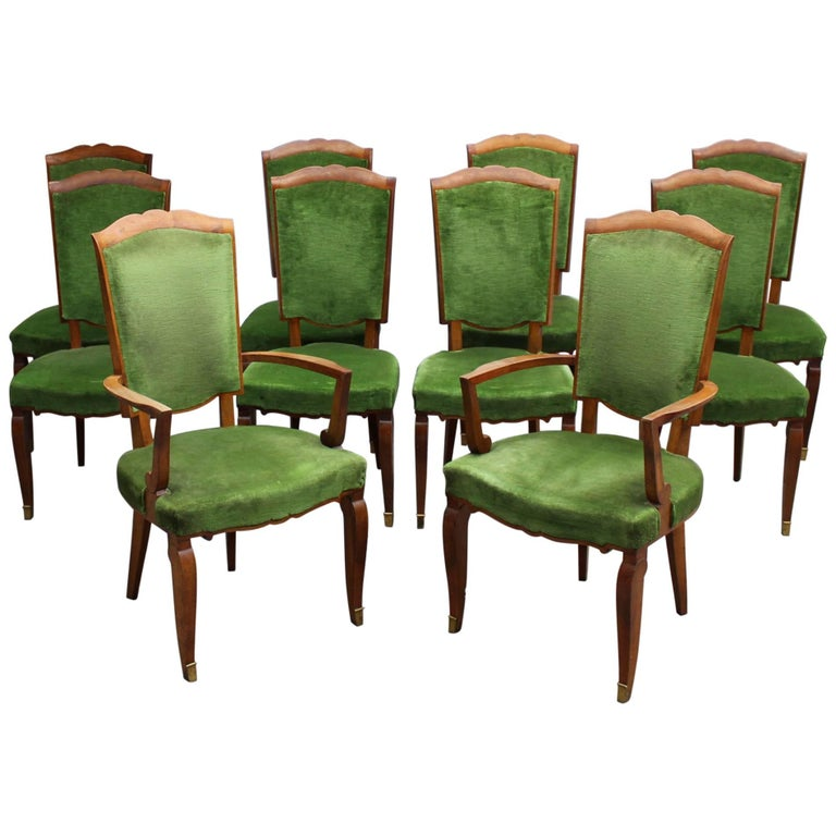 Set of Ten Fine French Art Deco Chairs by Leleu (Eight Side and Two Arm)