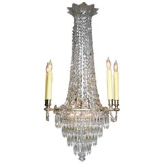French 19th-20th Century Louis XVI Style Silvered Bronze & Cut-Glass Chandelier
