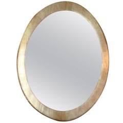 French 19th Century Oval Gold Painted Wood Framed Mirror with Original Glass