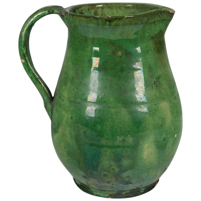 19th Century French Terracotta Pitcher with Green Glaze