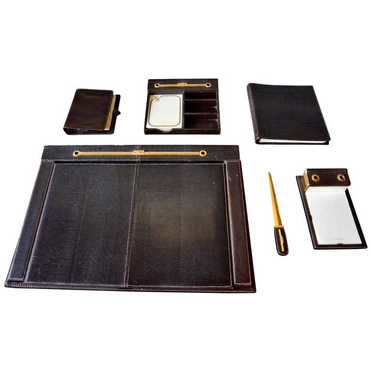 6dc546a32 Rare Gucci Snake Skin Desk Set For Sale at 1stdibs