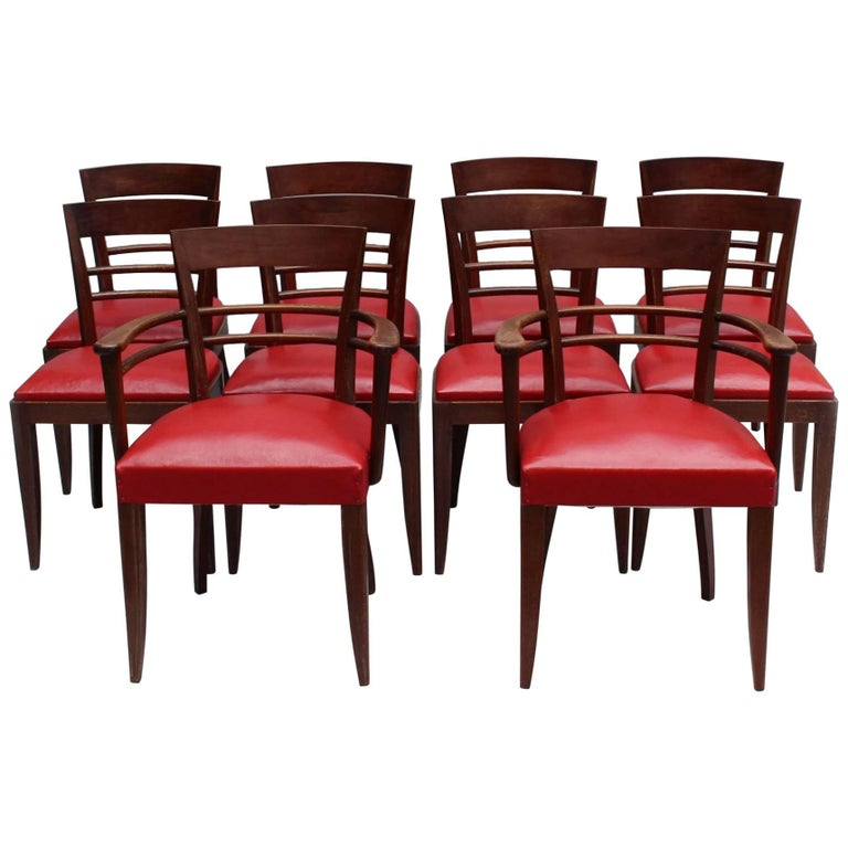 Set of Eight French Art Deco Mahogany Side and Two Armchairs