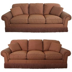 Pair of Baker Sofas Lawson Style from the Crown and Tulip Collection Terracotta