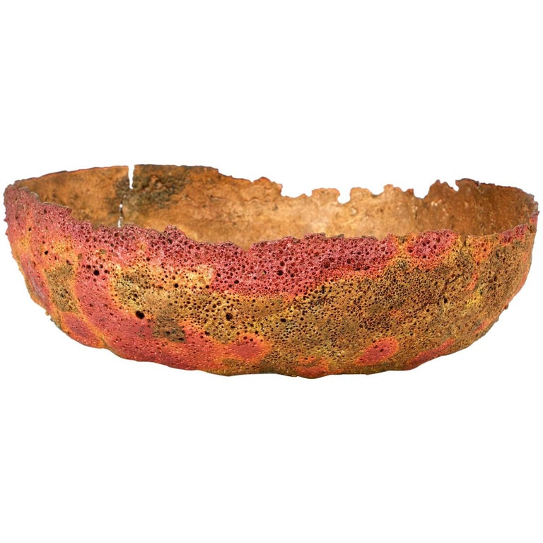 Midcentury Brutalist Volcanic Textured Molten Formed Copper Bowl