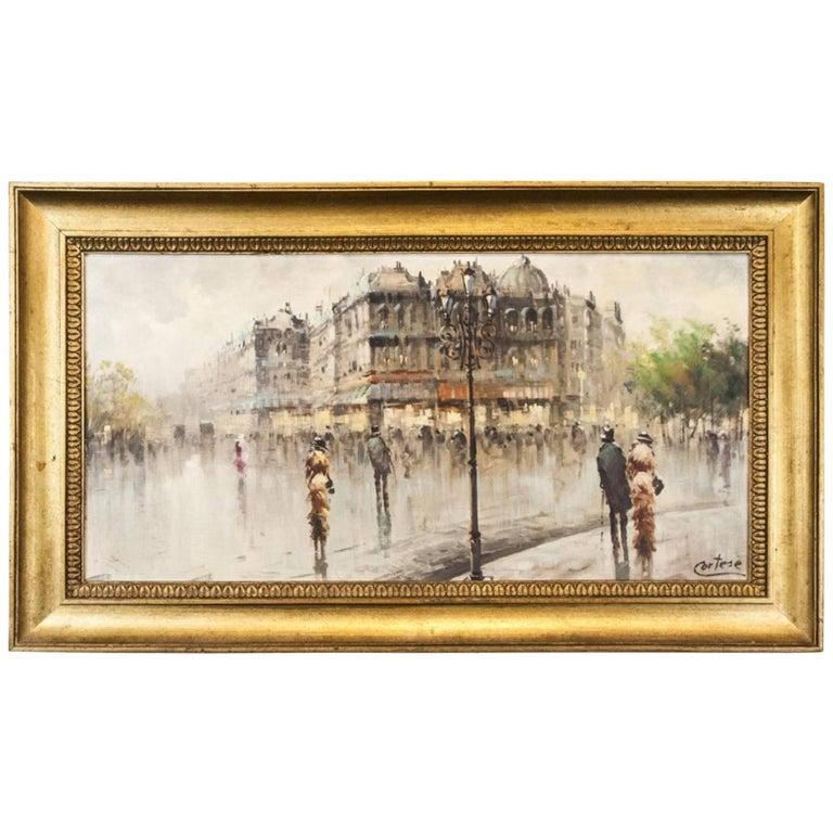 Oil on Canvas Paris Street Scene For Sale
