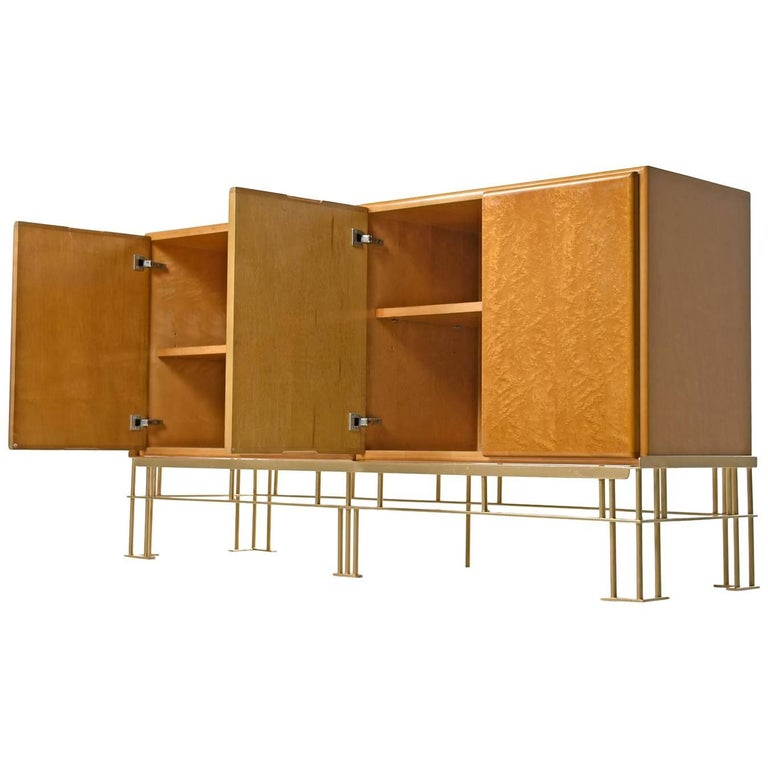 Thayer Coggin Maple Credenza by Milo Baughman with Custom-Made Metal Base