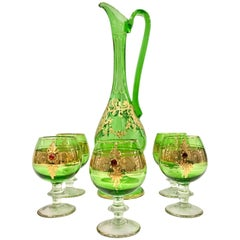 Italian Venetian Glass and 22-Karat Gold Drinks Set/6