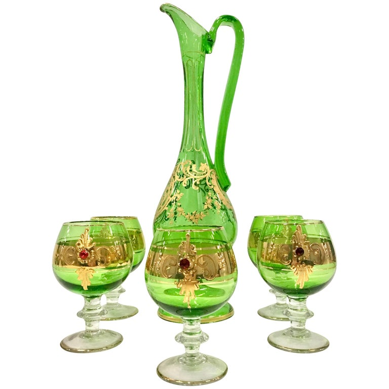 Italian Venetian Glass and 22-Karat Gold Drinks Set of Six Pieces