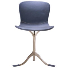 Blue Leather and Golden Sand Cast Brass Chair by P. Tendercool