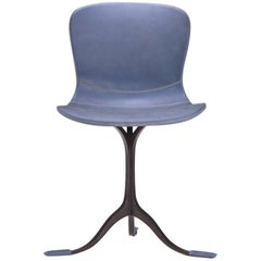 Blue Leather and Brown Sand Cast Brass Chair by P.Tendercool