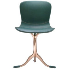 Green 'Emerald' Leather and Sand Cast Polished Bronze Chair by P.Tendercool