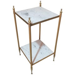 Side Table in White Marble and Brass, 1950s