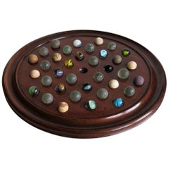 Large 19th Century Table Marble Solitaire Board Game with 36 Marbles, Ca. 1860