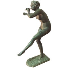 Art Deco Flute Dancer Bronze with Patina Signed by French Paul Philippe, 1900s