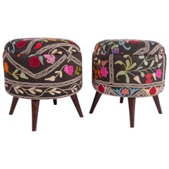 Ottoman or Poufs Fashioned from a Mid-20th Century Samarkand Silk Suzani